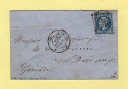 Piquage Susse - N°14 Type I - Paris - Bureau J - 8 Fevr 1861 - Sans Correspondance - Marcophilie (Lettres)