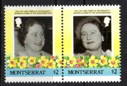 MONTSERRAT - 1985 LIFE & TIMES OF QUEEN ELIZABETH THE QUEEN MOTHER $2 PAIR FINE MNH ** EX SG MS644 - Montserrat