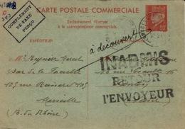 """30-4-42 - C P E P Commerciale 80 C Pétain + Compl. Taxe Perçu Utilisée """" INADMIS / RETOUR  L'ENVOYEUR """" - Guerra De 1939-45"""