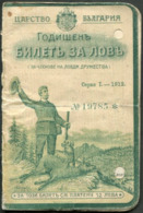 Bulgaria 1912-1915 Hunting License Jagdschein Permis De Chasse Dog Hund Chien Roe Deer Reh Chevreuil Revenue Fiscal Tax - Documentos Históricos