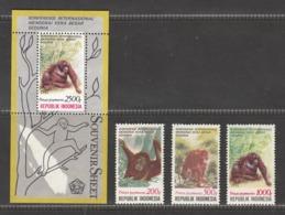 Indonesia 1991 Monkeys, Set Of 3v + S/S, MNH** - Indonesia