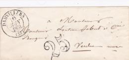 PSC De Damvillers (55) Pour Verdun (55) - 10 Juin 1851 - CAD Rond Type 13 & 15 - Taxe Double Trait 25 - 1849-1876: Periodo Classico