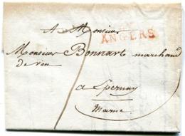 MAINE ET LOIRE De ANGERS LAC Du 1/04/1809 Linéaire35x11 Taxée 7 Pour EPERNAY En Tête GENDARMERIE IMPERIALE - Postmark Collection (Covers)