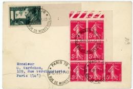 SEMEUSE 5C ROSE X 7 SUR ENV 1937 PARIS 78 - Storia Postale