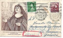 Carta Reutilizada Barcelona_Junquera-Valencia. Matasello XXXV Congreso Eucaristico - España
