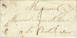 1850 -lettre De TRIGANCE ( Var ) Pour La Bastide ( Var )  C D Dans Un Losange  + Taxe 1 D - Marcophilie (Lettres)
