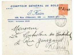 PARIS ENV 1931 6e Arrt SUR 50C SEMEUSE LIGNEE - Marcophilie (Lettres)