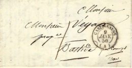 1850- Lettre De CASTELLANE ( Basses Alpes ) Cad T15 Taxe 1 D Pour Bastide ( Var ) - Marcophilie (Lettres)