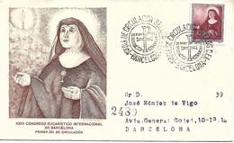 Correo Certificado Barcelona. Matasello Primer Día XXXV Cong Eucarístico Internacional - España