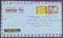 GHANA Postal History - Aerogramme On Disease T.B. And AIDS Health, Flowers, Used 23.10.2007 - Disease