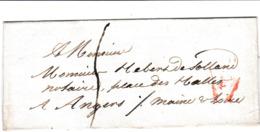 PSC Pour Angers (49) - Sans Date - Taxe Manuelle 5 + Cachet P En Triangle Rouge - 1801-1848: Precursori XIX