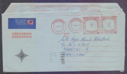 """RSA SOUTH AFRICA Postal History, Meter Franking Aerogramme Used 17.11.1981 ERROR """"8"""" Missing From Year 1981 - South Africa (1961-...)"""