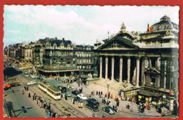 BRUXELLES- La Bourse- Cpsm Animée ,Tram Autos, Café -  Scans Recto Verso-Paypal Free - Bauwerke, Gebäude