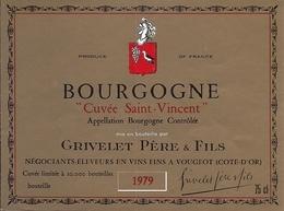 BOURGOGNE  CUVEE SAINT VENANT GRIVELET PERE & FILS  1979 (5) - Bourgogne
