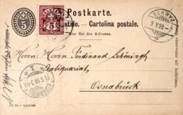 1899 - POSTE A SCHWYZ - CACHET POSTAL ARRIVEE OSNABRÜCK AU RECTO - - Stamped Stationery