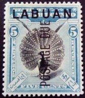 Borneo 1901 Animal Oiseau Bird Surchargé Overprinted LABUAN POSTAGE DUE Service Yvert S4 Sans Gomme No Gum - Nordborneo (...-1963)