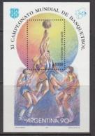 1990 Argentina Basketball  Complete Miniature Sheet MNH - Basketball
