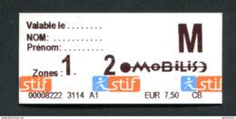 """Ticket Forfait Jour """"Mobilis 2 Zones"""" Train / Métro / Bus / Tramway - RATP / SNCF - Billet """"Ile-de-France - STIF"""" - Métro"""