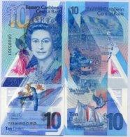 EAST CARIBBEAN 10 DOLLARS 2019 P NEW DESIGN POLYMER QE II UNC - East Carribeans