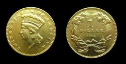 COPIE Pièce Plaquée OR ( GOLD Plated Coin ) - Etats-Unis USA - 1 Dollar Indian Princess 1862 - L. Gold (Oro)