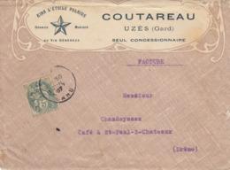 LETTRE. 1907. VIN ET SPIRITUEUX. KINA L'ETOILE POLAIRE. COUTAREAU UZES GARD - Werbung