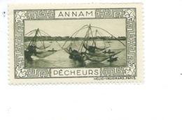 Vignette INDOCHINE Annam Pêcheurs Helio Vaugirard Belle Gomme TB 53 X 32  Colonies Françaises  2 Scans - Indochine (1889-1945)