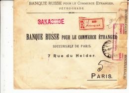 Russie    Guerre 1914/18  Enveloppe De Russie       1915  Vers  La   France  2 Scan - 1917-1923 Repubblica & Repubblica Soviética