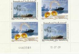 Maroc. Coin Daté Numéroté 2 Paires Timbres Se Tenant Yvert N° 1533-34 De 2009.  Maroc En Mouvement. Porte-Conteneurs. - Barcos