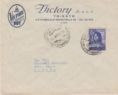 "A/5 - STORIA POSTALE - PUBBLICITARIA - ""VICTORY AMERICAN DDT"" - TRIESTE A SAVONA - AMG-FTT - 1 VALORE LIRE 20 - Storia Postale"