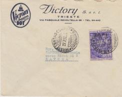 "A/5 - STORIA POSTALE - PUBBLICITARIA - ""VICTORY AMERICAN DDT"" - TRIESTE A SAVONA - AMG-FTT -1 VALORE LIRE 20 - Storia Postale"