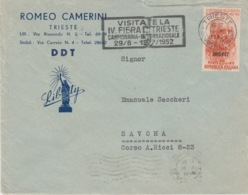 "A/5 - STORIA POSTALE - PUBBLICITARIA - ""VICTORY AMERICAN DDT"" - TRIESTE A SAVONA - AMG-FTT -1 VALORE LIRE 25 - Storia Postale"