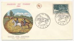FRANCE => Enveloppe FDC Journée Du Timbre 1964 - Courrier à Cheval - PARIS 14 Mars 1964 - Giornata Del Francobollo