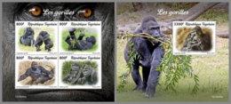 TOGO 2019 MNH Gorillas Gorilles M/S+S/S - OFFICIAL ISSUE - DH1946 - Gorillas