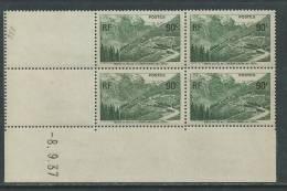 France N° 358 XX Ouverture Du Col De L'Iseran, En Bloc De 4 Coin Daté Du  8 . 9 . 37 , Sans Charnière TB - 1930-1939