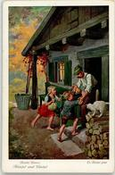 52507170 - Brueder Grimm - Maerchen - Haensel Und Gretel - Katze - Serie 125 Nr. 3717 - Künstlerkarten
