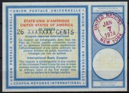 UNO UNITED NATIONS NEW YORK Vi20 26 XXXXXXX / 22 CENTS Int. Reply Coupon Reponse Antwortschein IAS IRC O D2 7.1.74 FD - Cartas