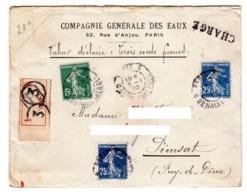 Valeur Déclaré Chargé Départ Paris 3 Malesherbe 1910 Pour Pionsat Puy De Dome 5 Cts + 25 Cts + 25 Cts - Storia Postale