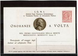 LSAU14 - ITALIE CARTE POSTALE LEONI 10c TSC ONORANZE A VOLTA  NEUVE - Stamped Stationery