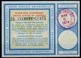 UNO UNITED NATIONS NEW YORK Vi20 26 XXXXXXX / 22 CENTS Int. Reply Coupon Reponse Antwortschein IAS IRC O D2 6.3.74 - Cartas