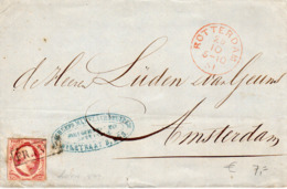 29 OCT 1861 Omslag Met NVPH 2  Van Rotterdam Naar Amsterdam - 1852-1890 (Guillaume III)