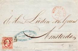 29 OCT 1861 Omslag Met NVPH 2  Van Rotterdam Naar Amsterdam - Briefe U. Dokumente