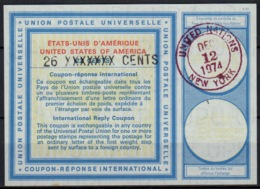 UNO UNITED NATIONS NEW YORK Vi20 26 XXXXXXX / 22 CENTS Int. Reply Coupon Reponse Antwortschein IAS IRC O D2 12.12.74 - Cartas
