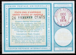 UNO UNITED NATIONS NEW YORK Vi20 26 XXXXXXX / 22 CENTS Int. Reply Coupon Reponse Antwortschein IAS IRC O D2 31.12.74 - Cartas