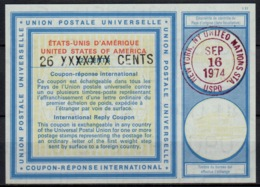 UNO UNITED NATIONS NEW YORK Vi20 26 XXXXXXX / 22 CENTS Int. Reply Coupon Reponse Antwortschein IAS IRC O D3 16.09.74 - Cartas