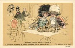 """Illustrateur René Vincent Crème Malaceine  GRANDES AMIES  PETITS SECRETS """"Pourquoi Je Ne Mets Plus De Voilette ? - Werbepostkarten"""