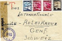 "LE 0326. N° 600-602(2)-609 WIEN 19 - 5.II.46 S/Lettre V. GENEVE. CENSURE ""165"" + Marque Rge ""T"" - 1945-.... 2ª República"