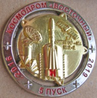 240-1 Space Russian Pin. Cosmodrome Vostochny. Satellite Meteor N2-2 2016-2019 - Space