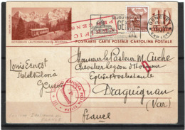 LSAU14 - SUISSE CP GENEVE / DRAGUIGNAN 15/7/1943 CENSURE ITALIENNE - Stamped Stationery