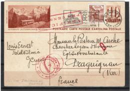 LSAU14 - SUISSE CP GENEVE / DRAGUIGNAN 15/7/1943 CENSURE ITALIENNE - Ganzsachen