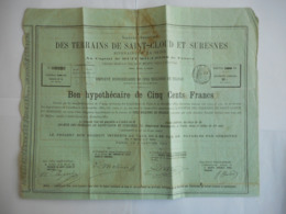 Terrains De SAINT CLOUD Et De SURESNES Riverains De La SEINE 1889 - Actions & Titres
